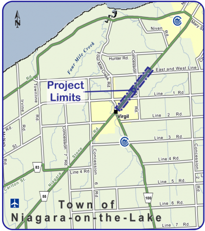 map of road 55 project limits